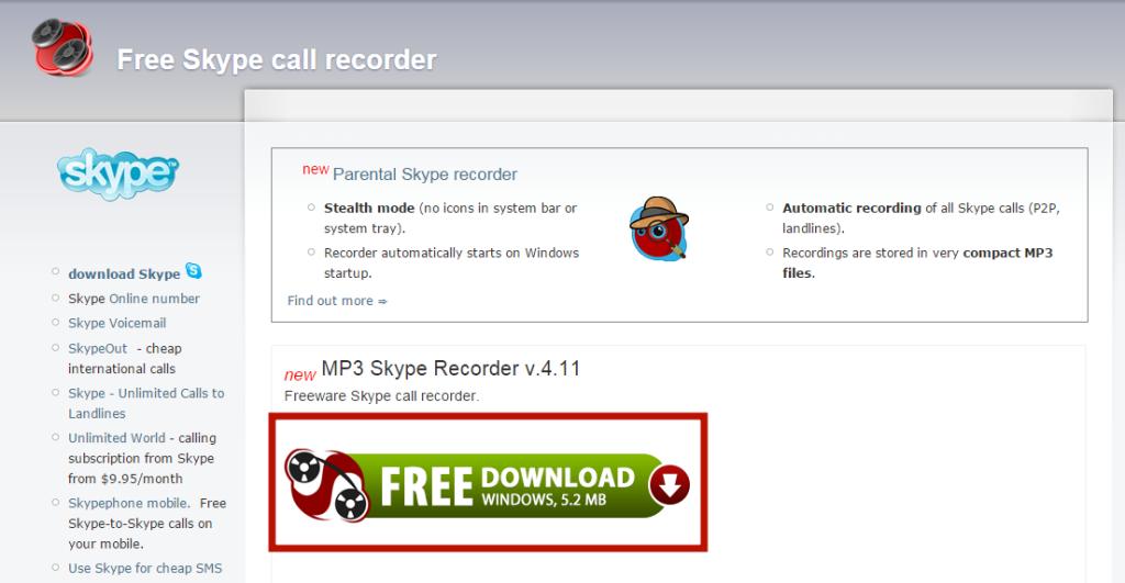 Скачиваем программу MP3 Skype Recorder